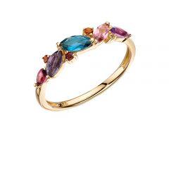 9ct yellow gold multi gem ring