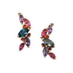 9ct gold multi gem earrings