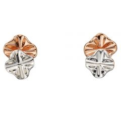 Silver and rose gold plated ruffle stud earrings