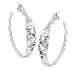 Silver, pearl, blue topaz and sapphire hoop earrings