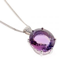 18ct diamond and amethyst necklace