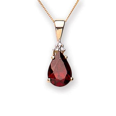 ae5174397 9ct yellow gold diamond and garnet necklace - Biagio the jewellers