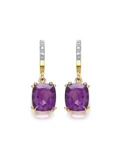 9ct yellow gold diamond and amethyst drop earrings