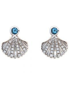 18ct diamond and aquamarine earrings