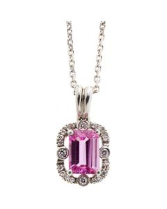 18ct diamond and pink sapphire necklace