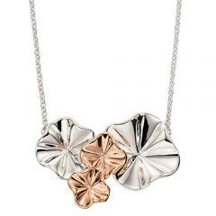 Silver and rose gold plated ruffle necklace