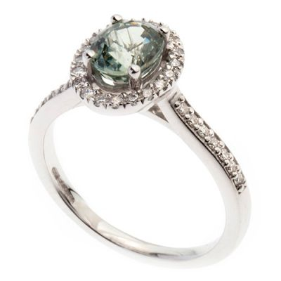 18ct green sapphire and diamond ring