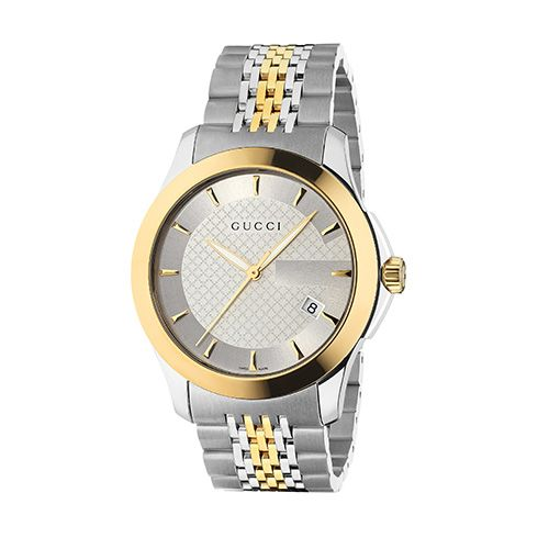 stainless steel case and yellow gold PVD bezel, with silver diamond pattern dial, stainless steel and yellow gold PVD bracelet