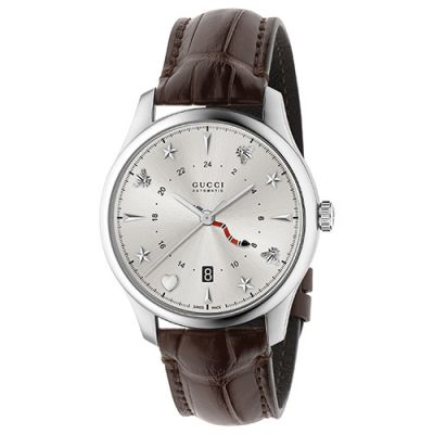 Stainless steel case and buckle, silver sunbrushed steel dial and dark brown alligator strap.