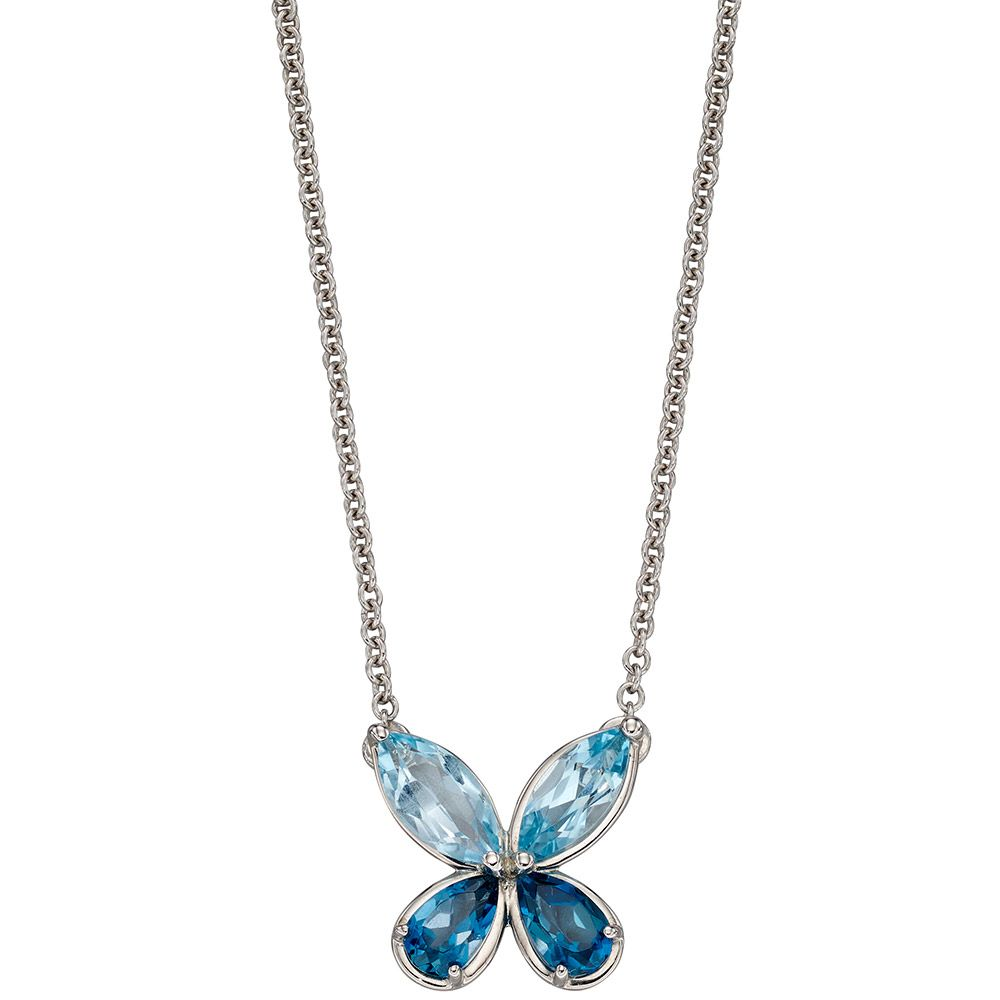 "A beautiful 9ct white gold butterfly pendant set with two different colours of blue topaz on an adjustable white gold chain. Length 16"" - 18""."