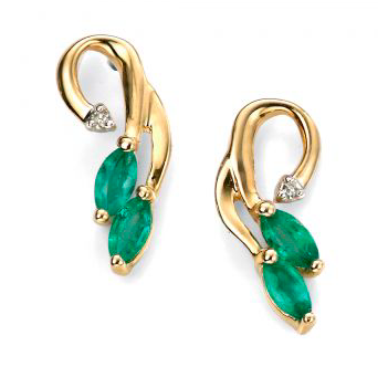 beautiful vine earrings with emerald and diamonds