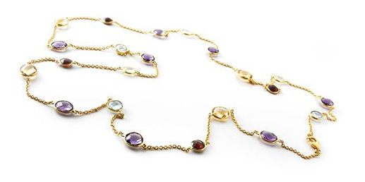 Beautiful amethyst, citrine, garnet and topaz on a thin gold chain