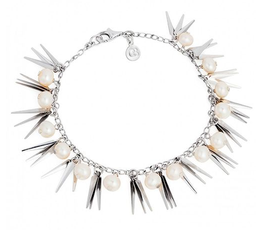 Beautiful silver and pearl bracelet. Looks very tribal.