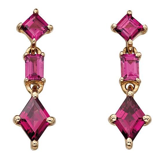 Drop earrings that have 3 parts, all Brazilian garnet.