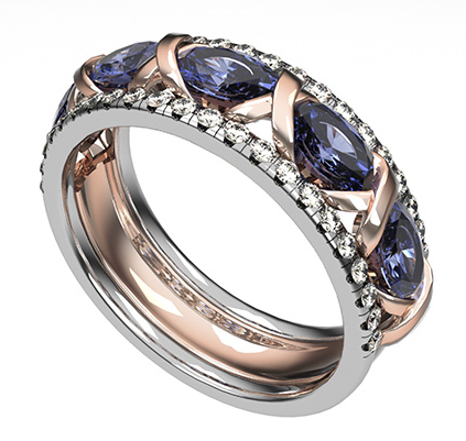 18ct white and rose gold diamond and sapphire 'Artistry' wedding ring, exceptional design by Biagio Patalano