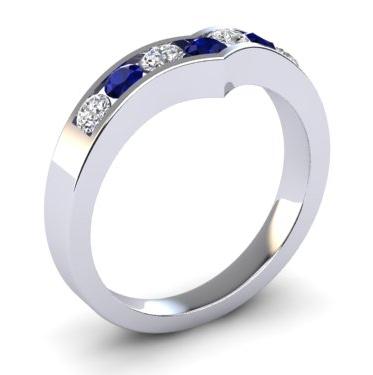 0.20ct 18ct white gold, diamond and sapphire wedding ring