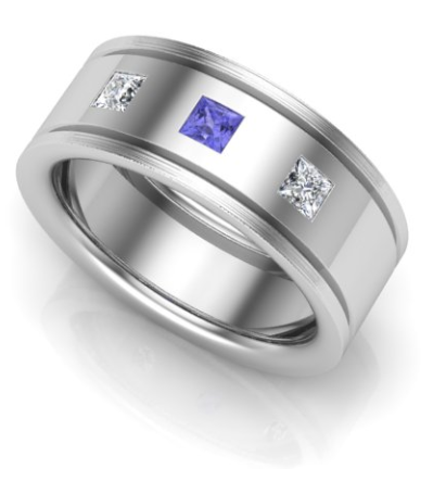 White Gold wedding ring with a tanzanite central ring and a diamond either side