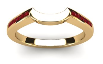 Shaped ring to fit with engagement ring. Rubies along the centre of each side