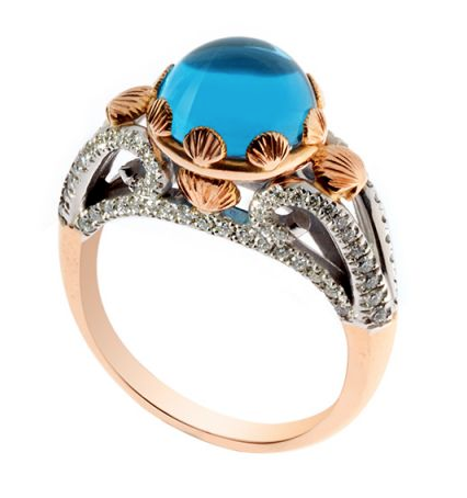 18ct white and rose gold diamond and Swiss blue topaz ring