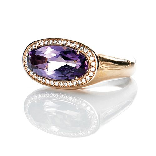 Amethyst and diamond ring in 18ct rose gold
