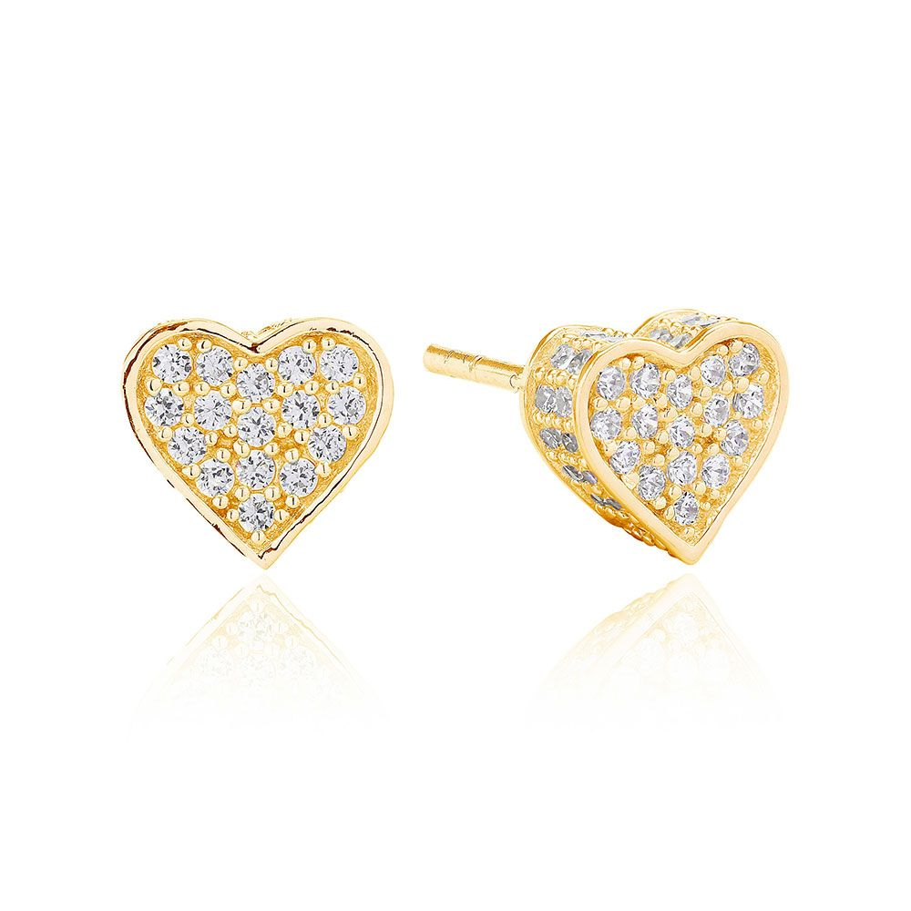 Product Information An enchanting pair of silver 18ct yellow gold plated heart earrings set with AAA cubic zirconia.