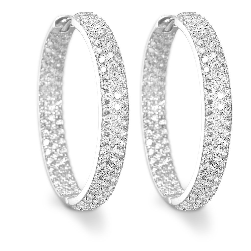A fashionable pair of silver hoop earrings set with AAA cubic zirconia.