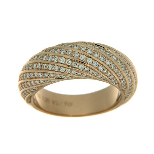 Yellow gold ring studded with diamonds.