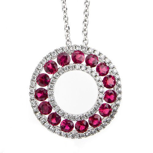 Gorgeous rubies in a circle surrounded by diamonds