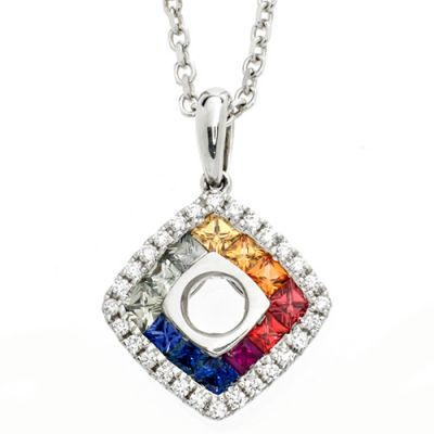 "A beautiful 18ct white gold pendant set with multi coloured sapphires and diamonds on a 16"" gold chain."