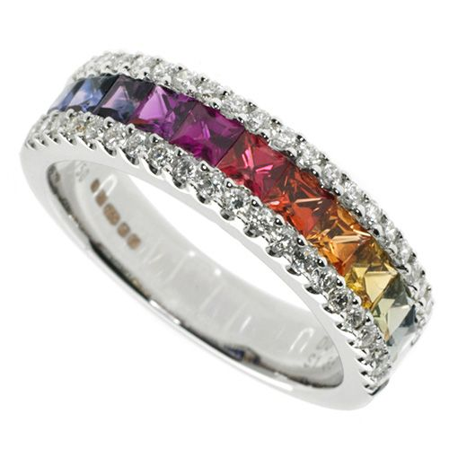 Beautiful ring with a rainbow of sapphires.