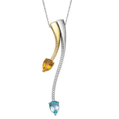 "A beautiful brushed rhodium plated and gold plated silver pendant set with cubic zirconia, citrine and blue topaz on an adjustable trace chain 16"" - 18"" long."