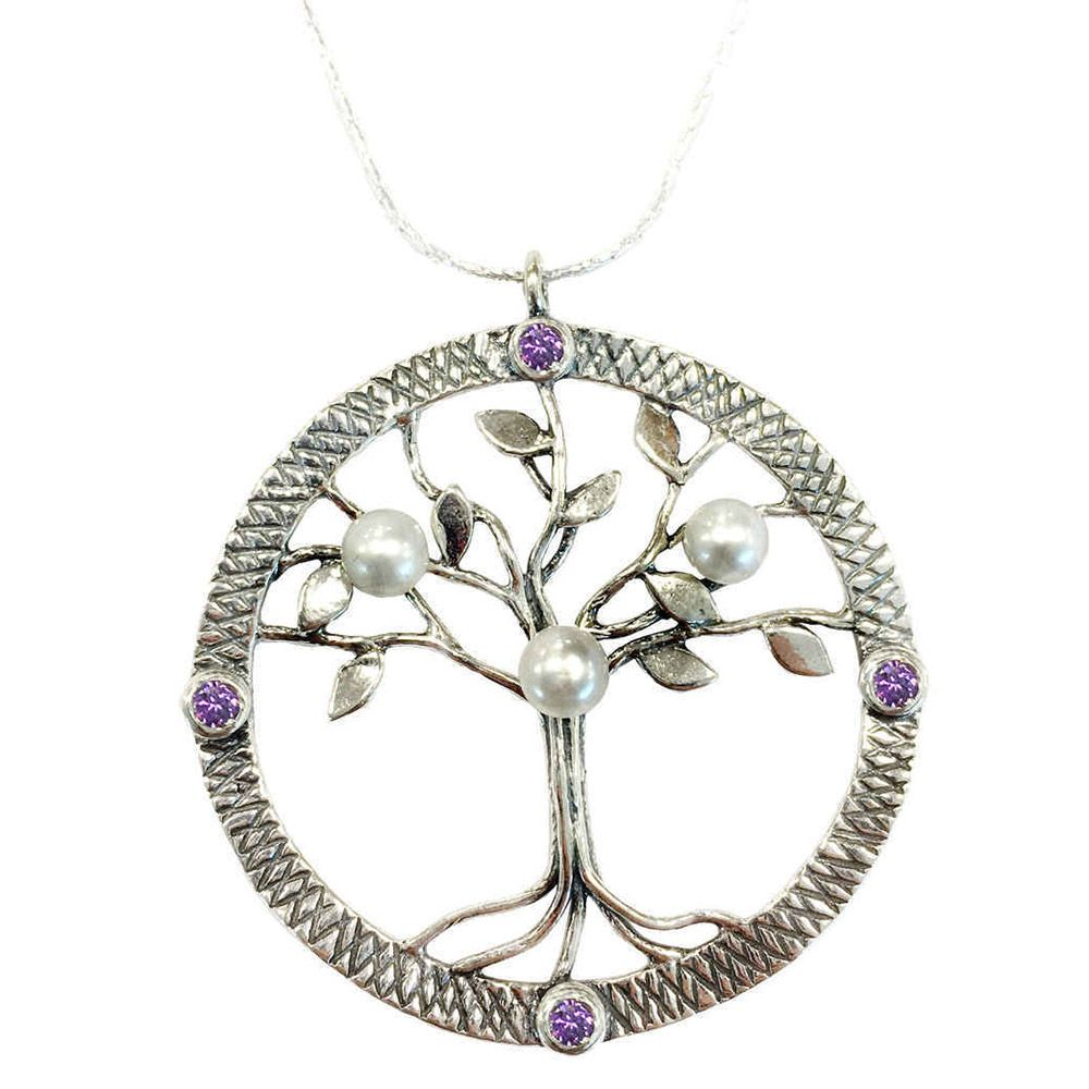 "A lovely silver tree pendant set with amethysts and freshwater pearls on a silver 18"" chain."