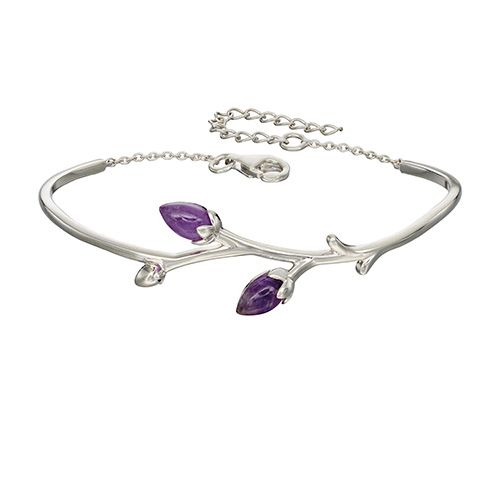 A fabulous silver bangle/bracelet set with two cabochon amethysts. Adjustable.