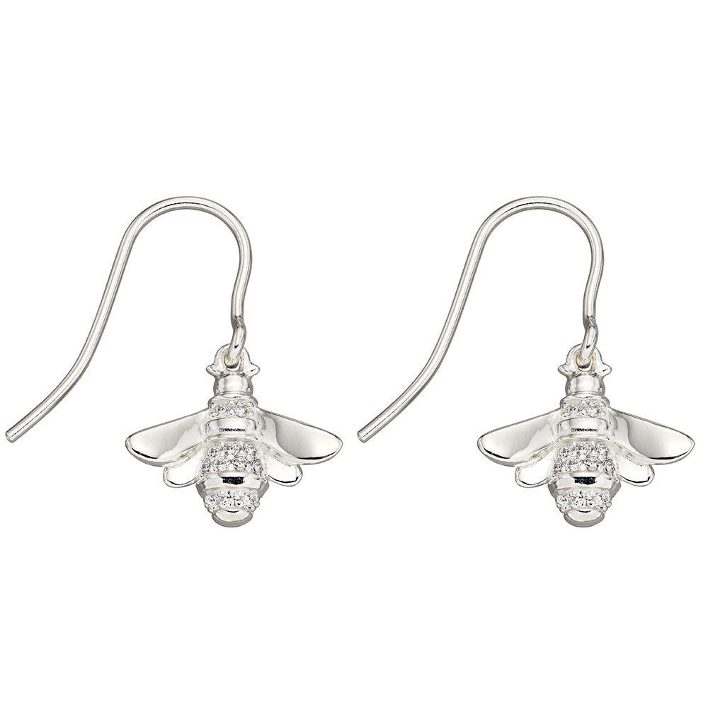 A great pair of silver drop bee earrings.