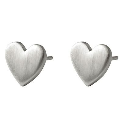 Silver satin flat heart stud earrings in sterling silver