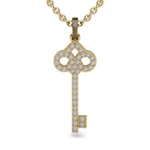 gold and diamond key pendant