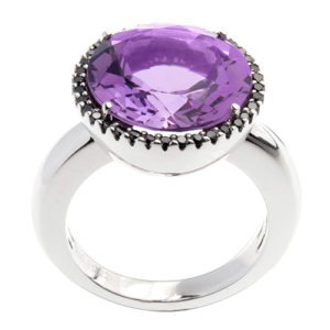 Amethyst and black diamond ring