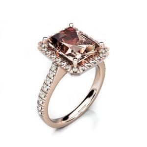 18ct Rose Gold & Morganite with Diamond Halo and Diamond Set Shoulders