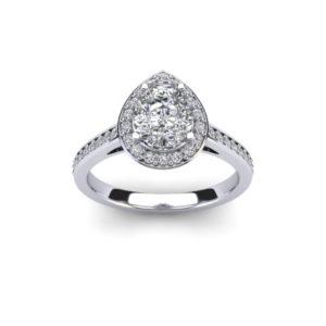 1.4 ct Pear Cut Diamond with Diamond Halo & Diamond Set Shoulders