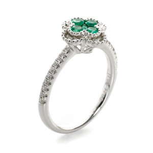 Emerald and diamond trefoil vintage style ring