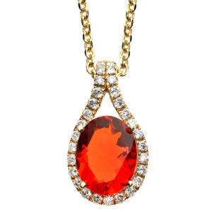 Colourful, fire opal and diamond pendant