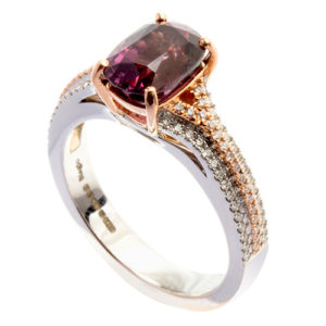 White and rose gold pink spinel ring.
