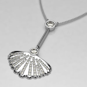 Sirena necklace for mothers day in diamond and white gold shell style