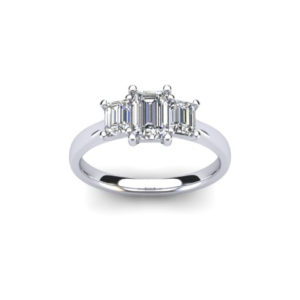 Diamond Trilogy Ring with a 0.5ct Emerald Cut Diamond, flanked by two 0.2ct Emerald Cut Diamonds