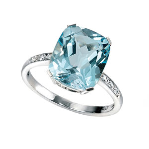 9ct White Gold & Blue Topaz with Diamond Set Shoulders