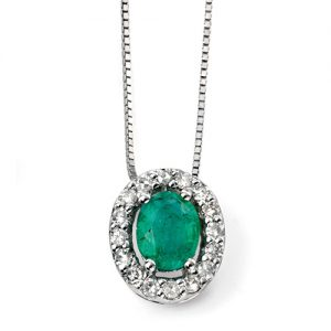 Oval emerald necklace with halo of diamonds