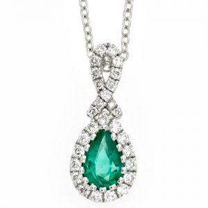 diamond and emerald pear drop pendant
