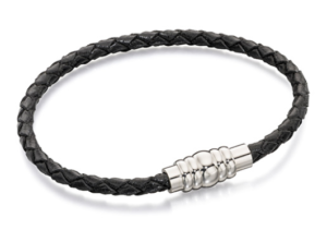 Stainless steel magnetic clasp and black leather bracelet by Fred Bennett.