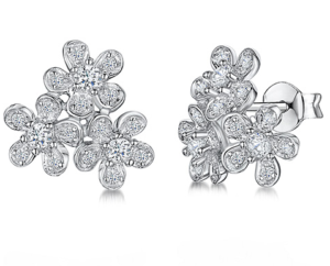 A really pretty pair of earrings with three flowers set with cubic zirconia