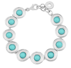 """A beautiful rhodium plated silver bracelet set with chalcedony. Adjustable 7""""-7.5"""""""